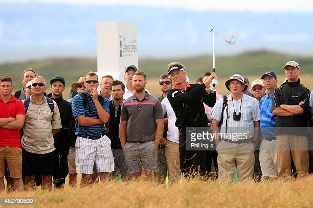 Bernhard Langer of Germany in action during the final round of the Senior Open Championship played at Royal Porthcawl Golf Club on July 27 2014 in...