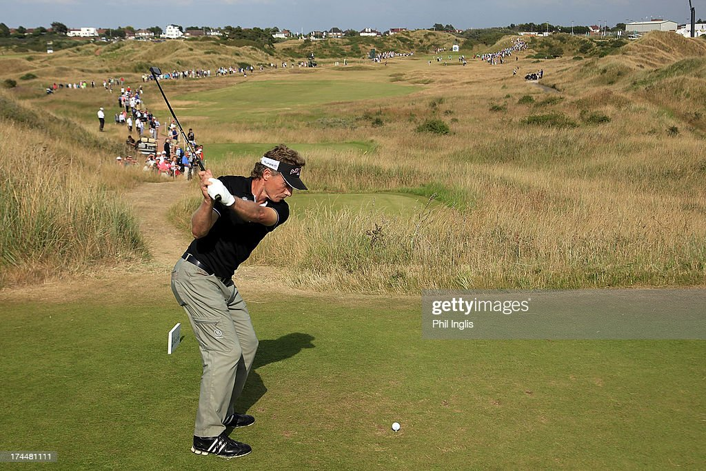 <a gi-track='captionPersonalityLinkClicked' href=/galleries/search?phrase=Bernhard+Langer&family=editorial&specificpeople=167071 ng-click='$event.stopPropagation()'>Bernhard Langer</a> of Germany in action during the second round of The Senior Open Championship played at Royal Birkdale Golf Club on July 26, 2013 in Southport, United Kingdom.
