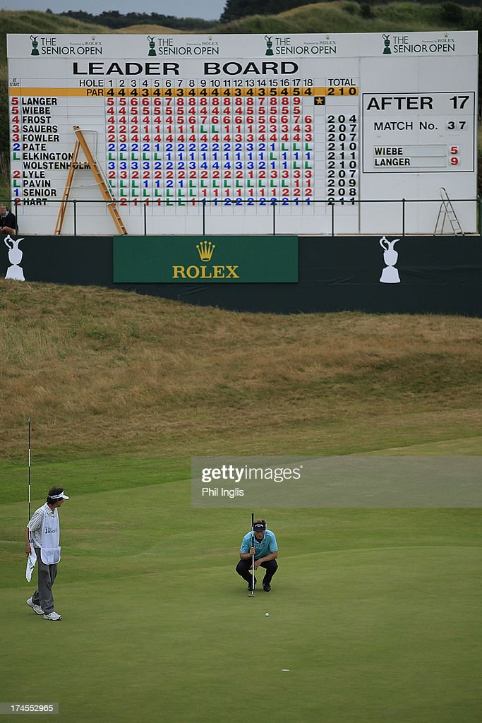 <a gi-track='captionPersonalityLinkClicked' href=/galleries/search?phrase=Bernhard+Langer&family=editorial&specificpeople=167071 ng-click='$event.stopPropagation()'>Bernhard Langer</a> of Germany in action during the third round of The Senior Open Championship played at Royal Birkdale Golf Club on July 27, 2013 in Southport, United Kingdom.