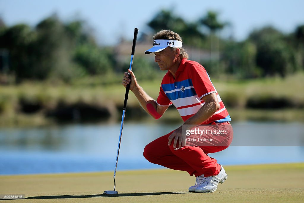 <a gi-track='captionPersonalityLinkClicked' href=/galleries/search?phrase=Bernhard+Langer&family=editorial&specificpeople=167071 ng-click='$event.stopPropagation()'>Bernhard Langer</a> of Germany lines up a putt on the 18th green during the first round of the 2016 Chubb Classic at the TwinEagles Club on February 12, 2016 in Naples, Florida.