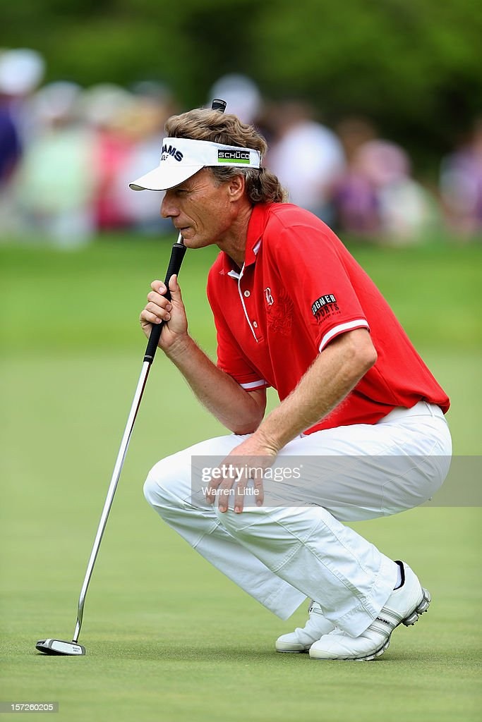 Bernhard Langer of Germany lines up a putt on the first green during the third round of the Nedbank Champions Challenge at the Gary Player Country Club on December 1, 2012 in Sun City, South Africa.