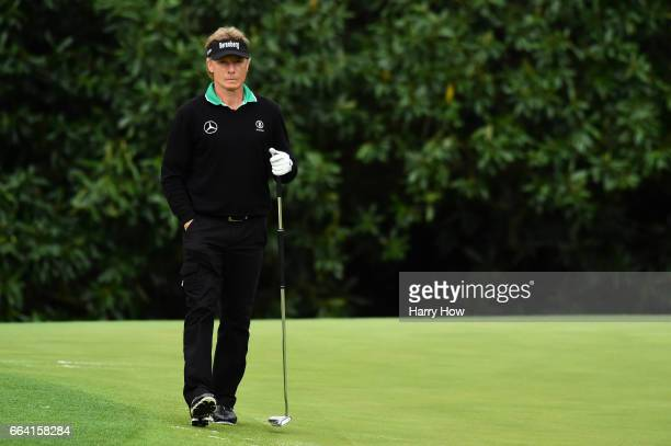 Bernhard Langer of Germany looks on during a practice round prior to the start of the 2017 Masters Tournament at Augusta National Golf Club on April...