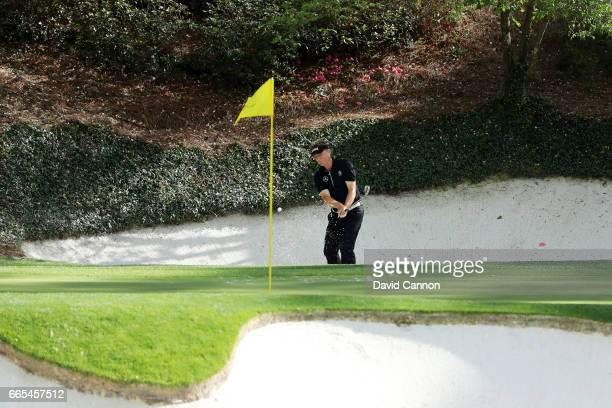 Bernhard Langer of Germany on the 12th hole during the first round of the 2017 Masters Tournament at Augusta National Golf Club on April 6 2017 in...