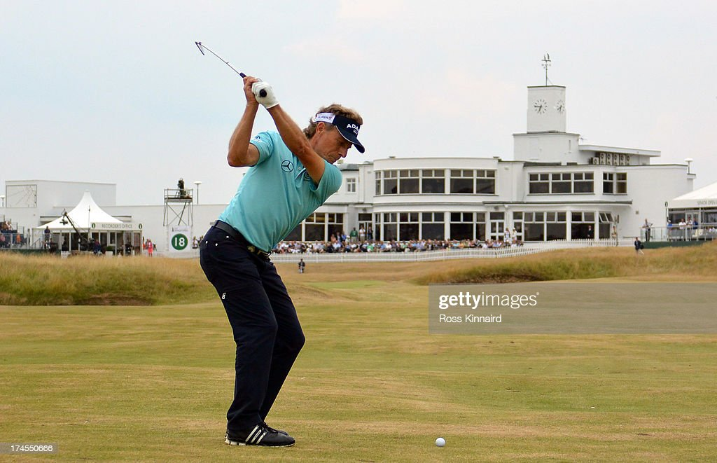 <a gi-track='captionPersonalityLinkClicked' href=/galleries/search?phrase=Bernhard+Langer&family=editorial&specificpeople=167071 ng-click='$event.stopPropagation()'>Bernhard Langer</a> of Germany on the par four 18th hole during the third round of The Senior Open Championship at Royal Birkdale on July 27, 2013 in Southport, England.