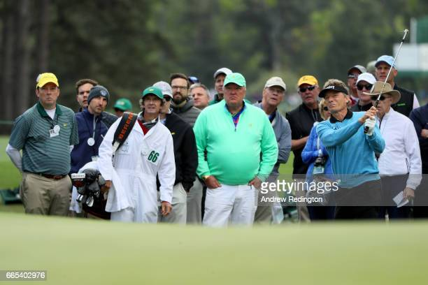 Bernhard Langer of Germany plays a shot on the first hole during the first round of the 2017 Masters Tournament at Augusta National Golf Club on...