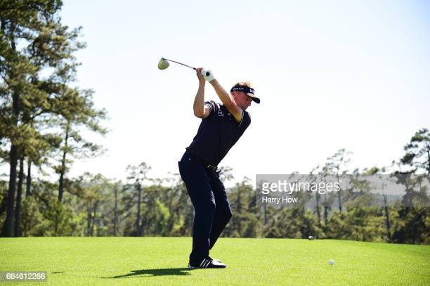 Bernhard Langer of Germany plays a shot on the tenth tee during a practice round prior to the start of the 2017 Masters Tournament at Augusta...