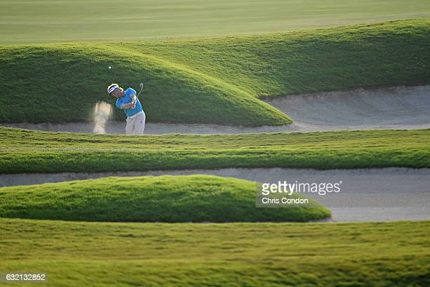 KA'UPULEHUKONA HI JANUARY 19 Bernhard Langer of Germany plays from a bunker on the 18th hole during the first round of the PGA TOUR Champions...