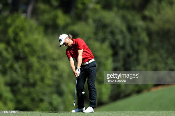 Bernhard Langer of Germany plays his second shot on the fifth hole during the second round of the 2017 Masters Tournament at Augusta National Golf...