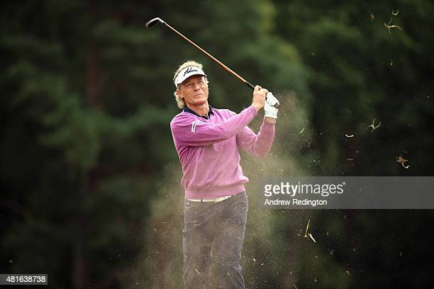 Bernhard Langer of Germany plays his second shot on the second hole during the first round of The Senior Open Championship at Sunningdale Golf Club...