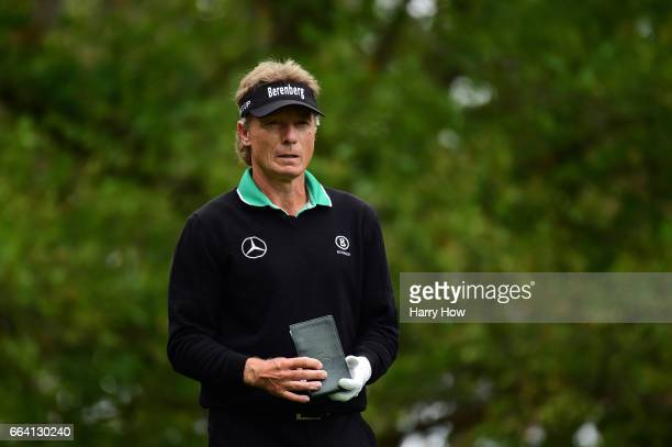 Bernhard Langer of Germany plays his shot from the fourth tee during a practice round prior to the start of the 2017 Masters Tournament at Augusta...
