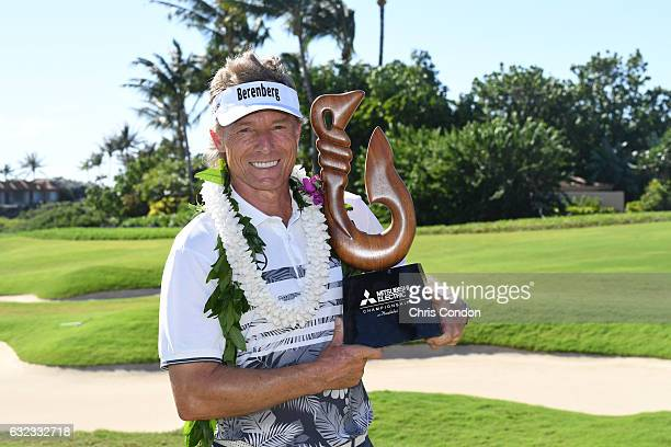 KA'UPULEHUKONA HI JANUARY 21 Bernhard Langer of Germany poses with the tournament trophy after winning the weathershortened PGA TOUR Champions...