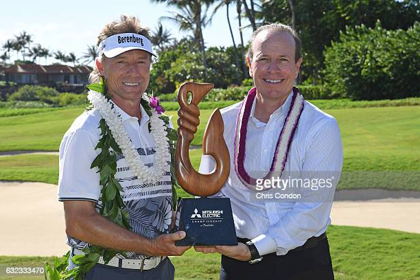 KA'UPULEHUKONA HI JANUARY 21 Bernhard Langer of Germany poses with the tournament trophy and PGA TOUR Champions President Greg McLaughlin after...