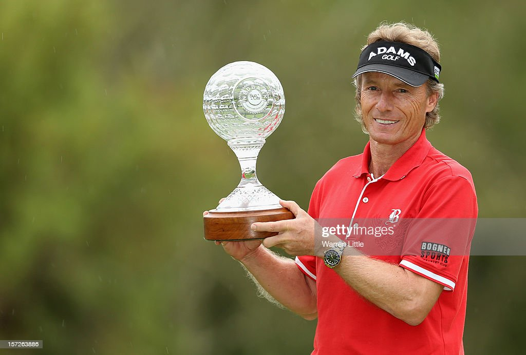 Bernhard Langer of Germany poses with the trophy after winning the Nedbank Champions Challenge at the Gary Player Country Club on December 1, 2012 in Sun City, South Africa.
