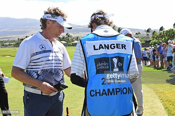 KA'UPULEHUKONA HI JANUARY 21 Bernhard Langer of Germany prepares to tee off on the first hole during the weathershortened PGA TOUR Champions...