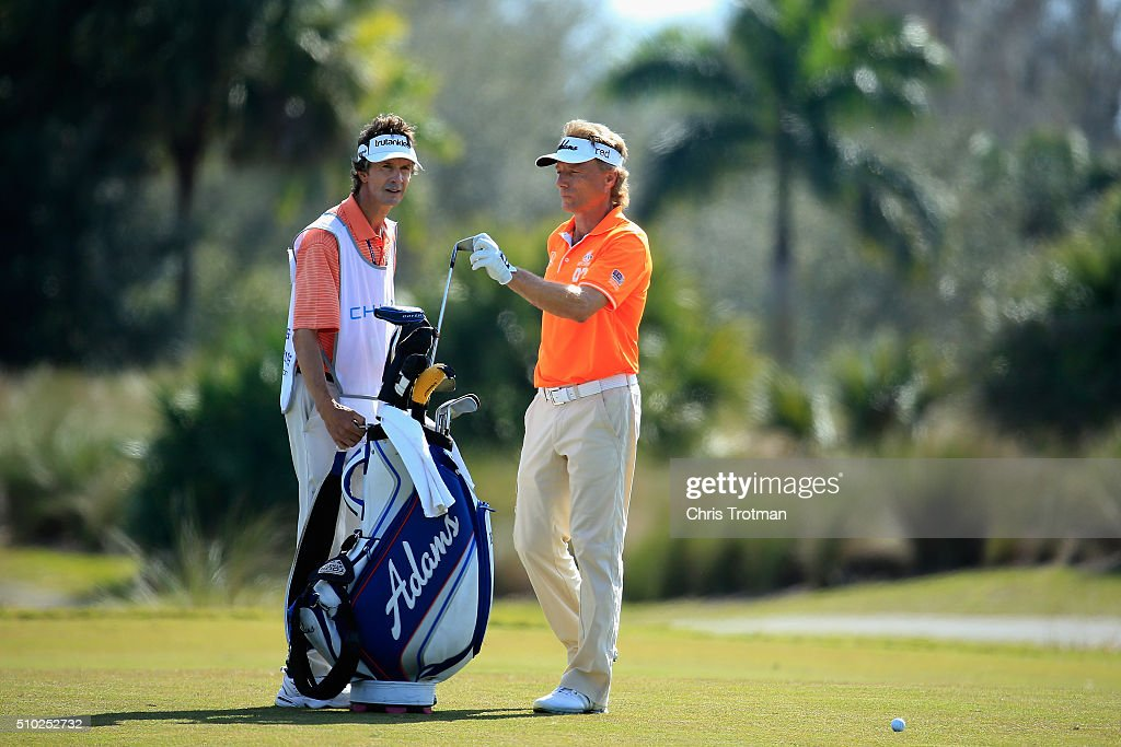 <a gi-track='captionPersonalityLinkClicked' href=/galleries/search?phrase=Bernhard+Langer&family=editorial&specificpeople=167071 ng-click='$event.stopPropagation()'>Bernhard Langer</a> of Germany pulls a club from his bag on the 9th hole during the final round of the 2016 Chubb Classic at the TwinEagles Club on February 14, 2016 in Naples, Florida.