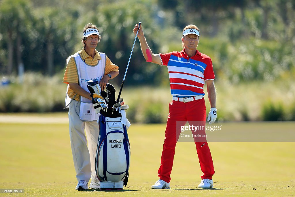 <a gi-track='captionPersonalityLinkClicked' href=/galleries/search?phrase=Bernhard+Langer&family=editorial&specificpeople=167071 ng-click='$event.stopPropagation()'>Bernhard Langer</a> of Germany pulls a club on the 9th hole during the first round of the 2016 Chubb Classic at the TwinEagles Club on February 12, 2016 in Naples, Florida.