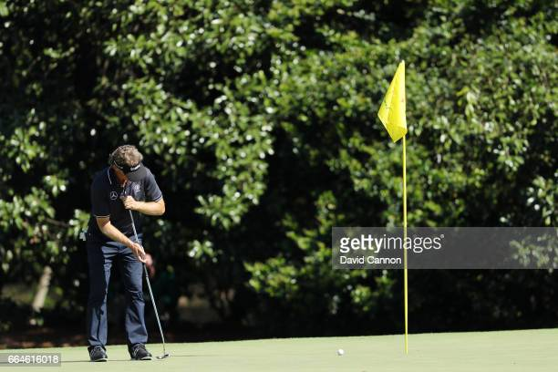 Bernhard Langer of Germany putts during a practice round prior to the start of the 2017 Masters Tournament at Augusta National Golf Club on April 4...