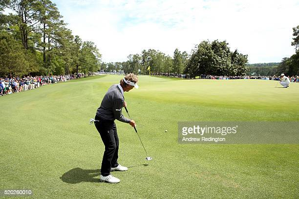 Bernhard Langer of Germany putts to the first green during the final round of the 2016 Masters Tournament at Augusta National Golf Club on April 10...