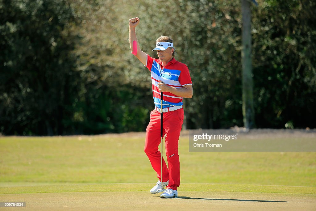 <a gi-track='captionPersonalityLinkClicked' href=/galleries/search?phrase=Bernhard+Langer&family=editorial&specificpeople=167071 ng-click='$event.stopPropagation()'>Bernhard Langer</a> of Germany reacts after a birdie on the 8th hole during the first round of the 2016 Chubb Classic at the TwinEagles Club on February 12, 2016 in Naples, Florida.