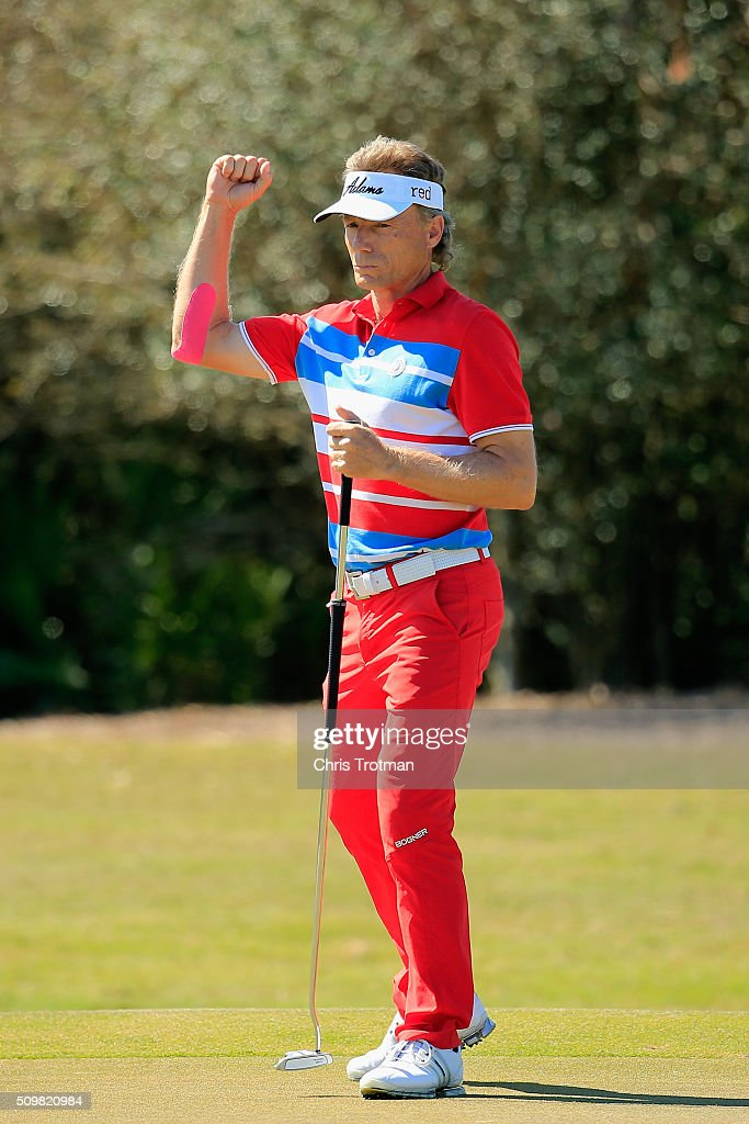 <a gi-track='captionPersonalityLinkClicked' href=/galleries/search?phrase=Bernhard+Langer&family=editorial&specificpeople=167071 ng-click='$event.stopPropagation()'>Bernhard Langer</a> of Germany reacts after a birdie on the 9th hole during the first round of the 2016 Chubb Classic at the TwinEagles Club on February 12, 2016 in Naples, Florida.