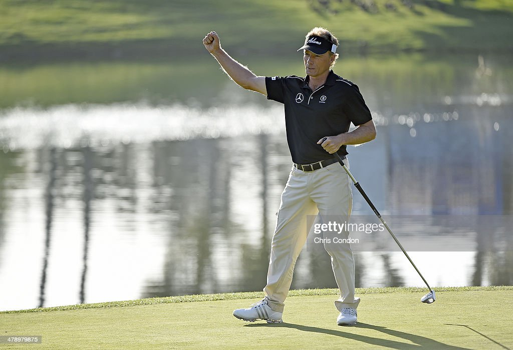 Bernhard Langer of Germany reacts after making a birdie putt on the 17th hole during the second round of the Champions Tour Toshiba Classic at Newport Beach Country Club on March 15, 2014 in Newport Beach, California.