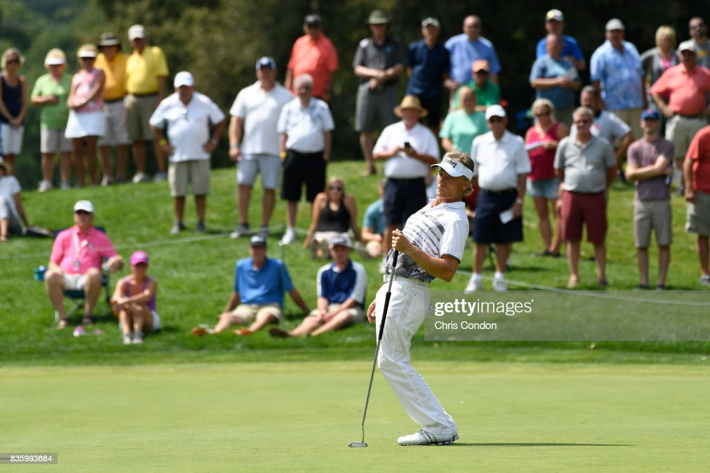 Bernhard Langer of Germany reacts after missing a putt on the second green during the final round of the PGA TOUR Champions DICK'S Sporting Goods Open at En-Joie Golf Course on August 20, 2017 in Endicott, New York.