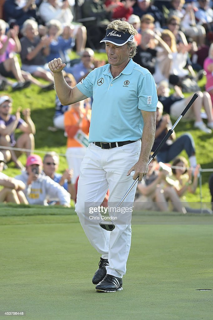 <a gi-track='captionPersonalityLinkClicked' href=/galleries/search?phrase=Bernhard+Langer&family=editorial&specificpeople=167071 ng-click='$event.stopPropagation()'>Bernhard Langer</a> of Germany reacts after winning the Champions Tour Dick's Sporting Goods Open at En-Joie Golf Course on August 17, 2014 in Endicott, New York.