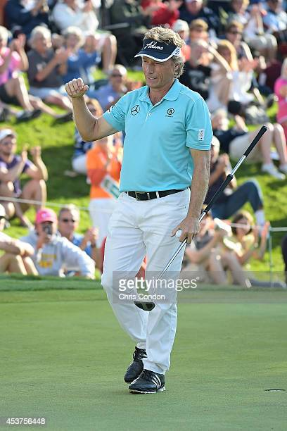 Bernhard Langer of Germany reacts after winning the Champions Tour Dick's Sporting Goods Open at EnJoie Golf Course on August 17 2014 in Endicott New...