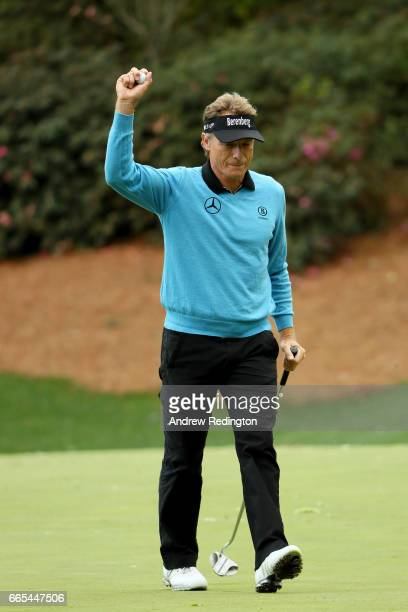 Bernhard Langer of Germany reacts on the 13th hole during the first round of the 2017 Masters Tournament at Augusta National Golf Club on April 6...