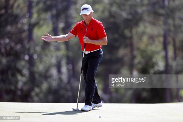 Bernhard Langer of Germany reacts on the 18th green during the second round of the 2017 Masters Tournament at Augusta National Golf Club on April 7...