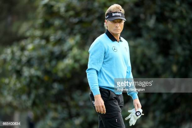 Bernhard Langer of Germany reacts on the first green during the first round of the 2017 Masters Tournament at Augusta National Golf Club on April 6...