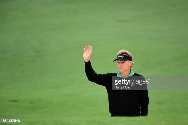 Bernhard Langer of Germany reacts on the second hole during a practice round prior to the start of the 2017 Masters Tournament at Augusta National...