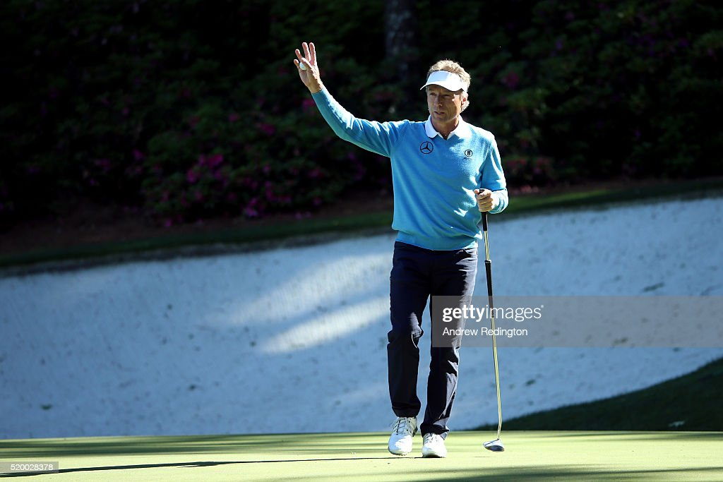 Bernhard Langer of Germany reacts to his birdie on the 13th hole during the third round of the 2016 Masters Tournament at Augusta National Golf Club...
