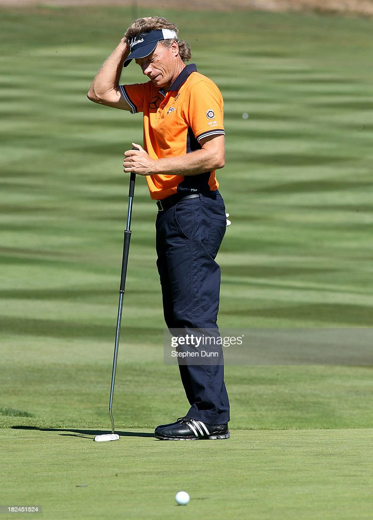 Bernhard Langer of Germany reacts to his putt on the third hole durng the final round of the Nature Valley First Tee Open at Pebble Beach at Pebble Beach Golf Links on September 29, 2013 in Pebble Beach, California.