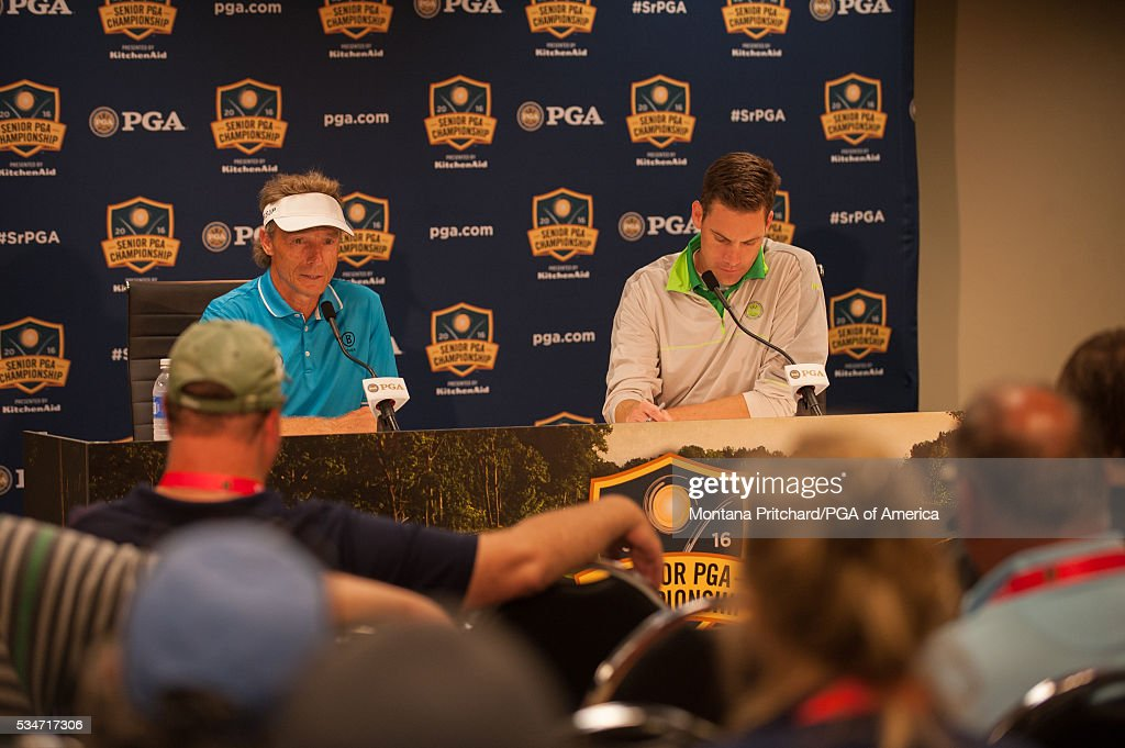 <a gi-track='captionPersonalityLinkClicked' href=/galleries/search?phrase=Bernhard+Langer&family=editorial&specificpeople=167071 ng-click='$event.stopPropagation()'>Bernhard Langer</a> of Germany speaks at the press conference during the second round for the 77th Senior PGA Championship presented by KitchenAid held at Harbor Shores Golf Club on May 27, 2016 in Benton Harbor, Michigan.