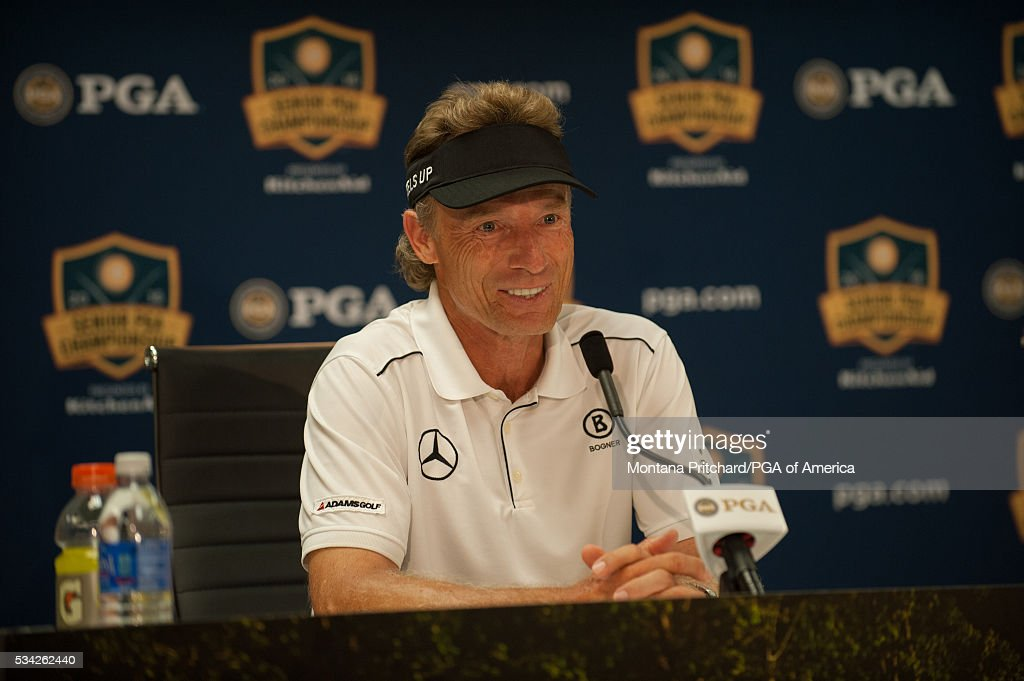 Bernhard Langer of Germany speaks during a press conference in the media center at the 77th Senior PGA Championship presented by KitchenAid held at Harbor Shores Golf Club on May 25, 2016 in Benton Harbor, Michigan.