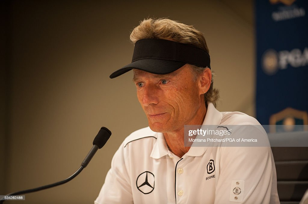 Bernhard Langer of Germany speaks during a press conference in the media center at the 77th Senior PGA Championship presented by KitchenAid held at Harbor Shores Golf Club on May 25, 2016 in Benton Harbor, Michigan. (Photo by Montana Pritchard/The PGA of America via Getty Images) Bernhard Langer