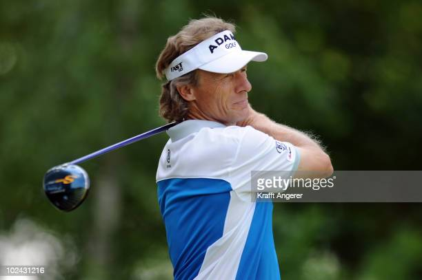Bernhard Langer of Germany tees of on the ninth hole during the third round of the BMW International Open at the Munich North Eichenried Golf Club on...