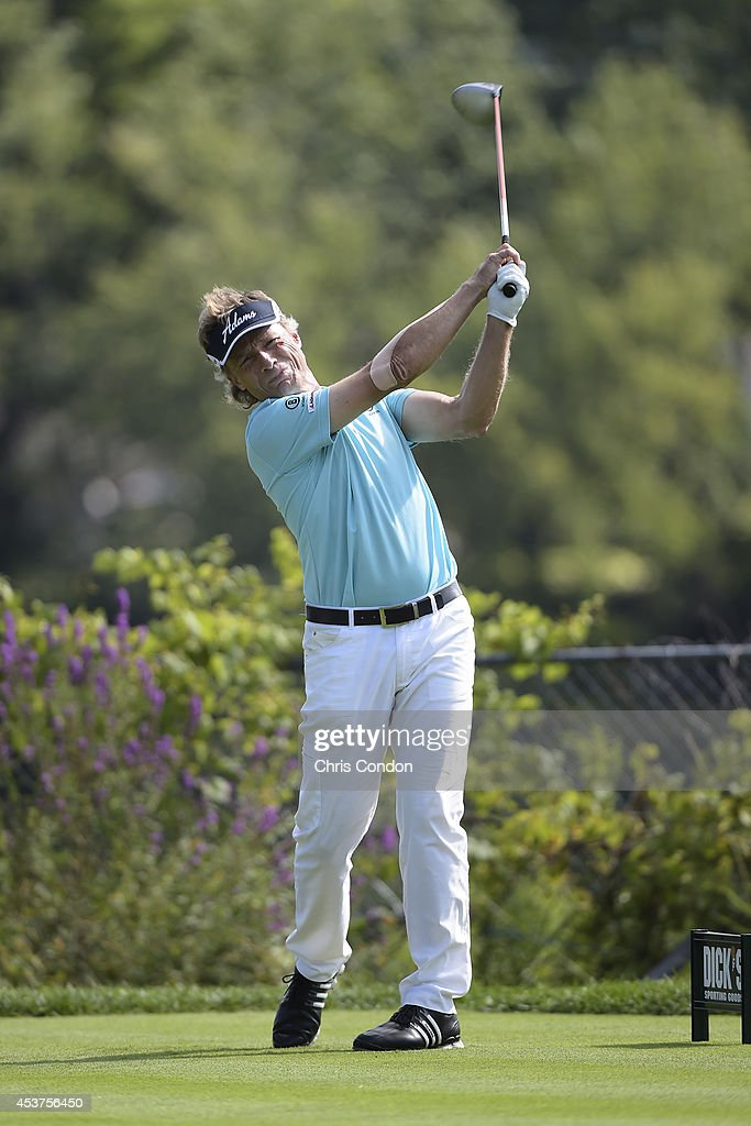 <a gi-track='captionPersonalityLinkClicked' href=/galleries/search?phrase=Bernhard+Langer&family=editorial&specificpeople=167071 ng-click='$event.stopPropagation()'>Bernhard Langer</a> of Germany tees off on the 12th hole during the final round of the Champions Tour Dick's Sporting Goods Open at En-Joie Golf Course on August 17, 2014 in Endicott, New York.