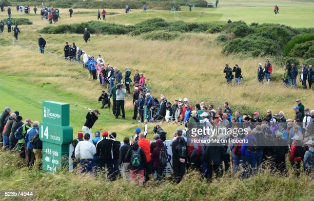 Bernhard Langer of Germany tees off on the 14th hole during the first round of the Senior Open Championship presented by Rolex at Royal Porthcawl...