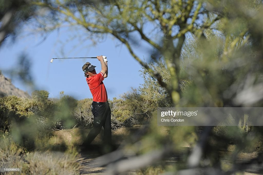 <a gi-track='captionPersonalityLinkClicked' href=/galleries/search?phrase=Bernhard+Langer&family=editorial&specificpeople=167071 ng-click='$event.stopPropagation()'>Bernhard Langer</a> of Germany tees off on the 17th hole during the third round of the Charles Schwab Cup Championship at Desert Mountain Club (Cochise) on November 3, 2012 in Scottsdale, Arizona.