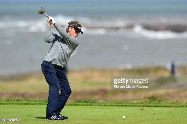 Bernhard Langer of Germany tees off on the 3rd hole during the final round of the Senior Open Championship presented by Rolex at Royal Porthcawl Golf...