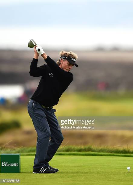 Bernhard Langer of Germany tees off on the 3rd hole during the third round of the Senior Open Championship presented by Rolex at Royal Porthcawl Golf...
