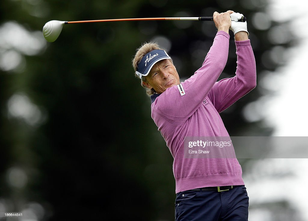 Bernhard Langer of Germany tees off on the sixth hole during Round Three of the Charles Schwab Cup Championship at TPC Harding Park on November 2, 2013 in San Francisco, California.