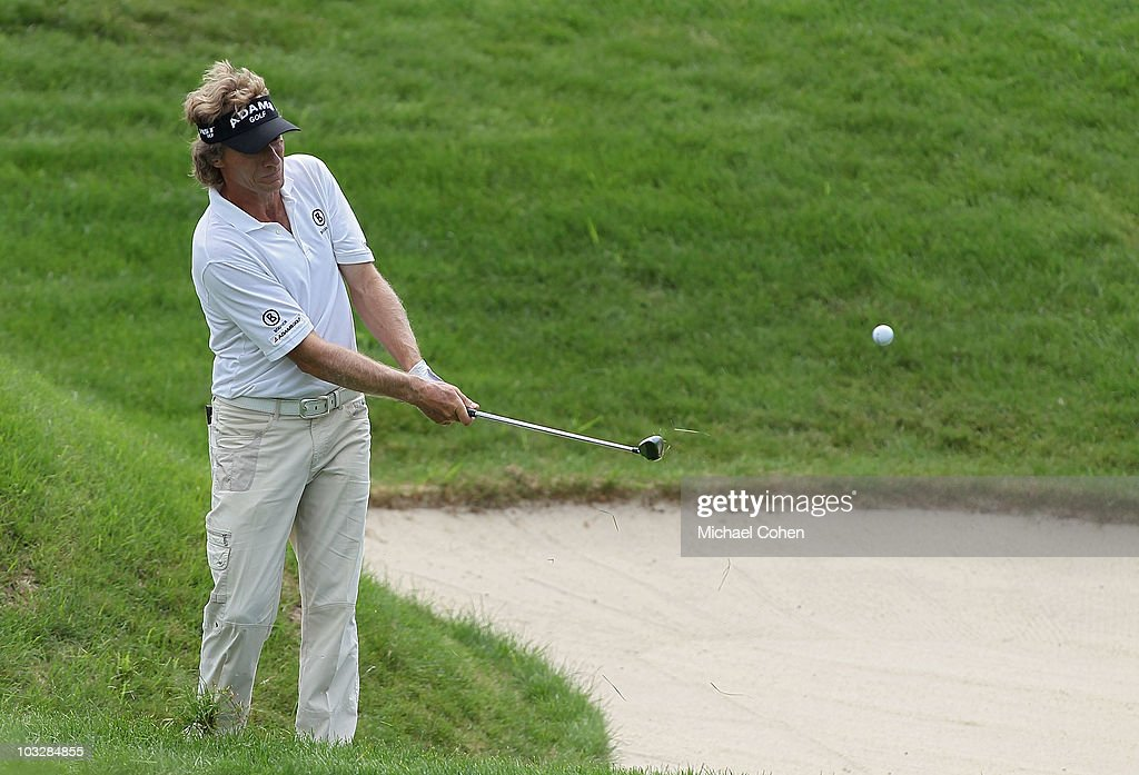 Bernhard Langer of Germany, the defending champion, hits a chip shot from the rough for birdie on the ninth green during the second round of the 3M Championship at TPC Twin Cities held on August 7, 2010 in Blaine, Minnesota.