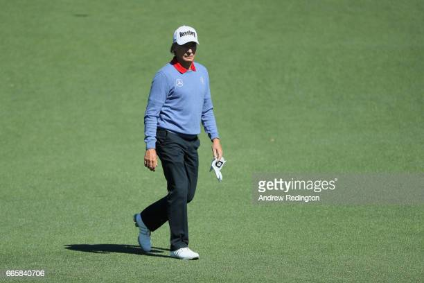 Bernhard Langer of Germany walks across the second hole during the second round of the 2017 Masters Tournament at Augusta National Golf Club on April...