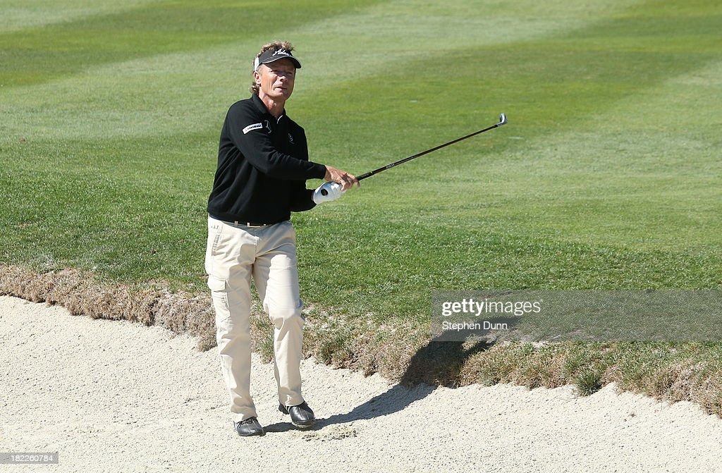 <a gi-track='captionPersonalityLinkClicked' href=/galleries/search?phrase=Bernhard+Langer&family=editorial&specificpeople=167071 ng-click='$event.stopPropagation()'>Bernhard Langer</a> of Germany watches as his second shot on the second hole goes out of bounds durng the second round of the Nature Valley First Tee Open at Pebble Beach at Pebble Beach Golf Links on September 28, 2013 in Pebble Beach, California.