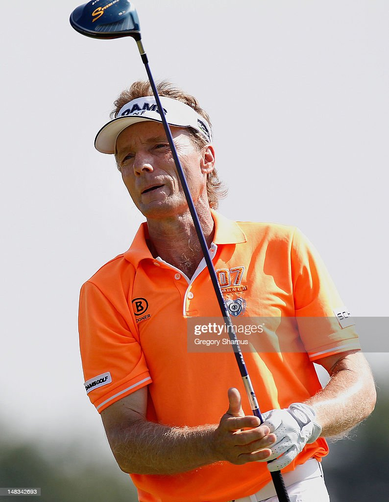 <a gi-track='captionPersonalityLinkClicked' href=/galleries/search?phrase=Bernhard+Langer&family=editorial&specificpeople=167071 ng-click='$event.stopPropagation()'>Bernhard Langer</a> of Germany watches his drive on the 18th hole during the third round of the 2012 Senior United States Open at Indianwood Golf and Country Club on July 14, 2012 in Lake Orion, Michigan.