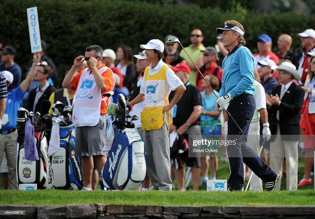 Bernhard Langer of Germany watches his drive on the first hole during the second round of the Shaw Charity Classic at the Canyon Meadows Golf and Country Club on August 30, 2014 in Calgary, Canada.