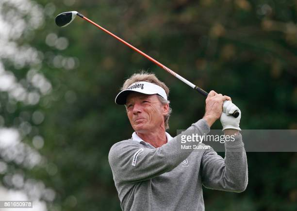 Bernhard Langer of Germany watches his tee shot on the second hole during the final round of the SAS Championship at Prestonwood Country Club on...